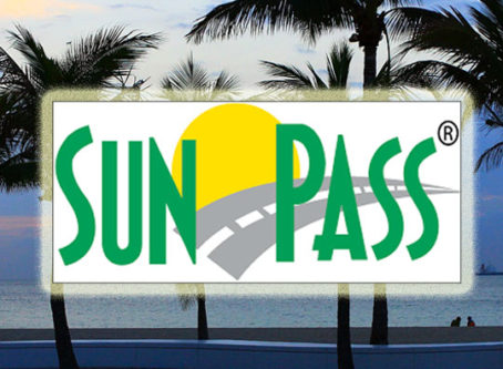 SunPass logo, palm trees