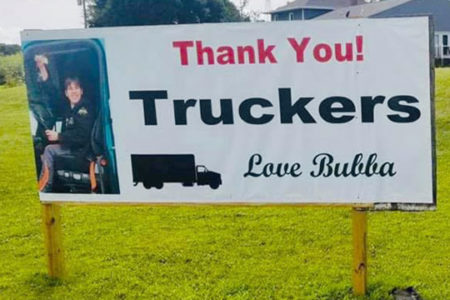Bubba appreciated the truckers who stopped by and the work of 18 Wheels for Bubba