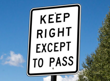 Stay right, keep right except to pass sign