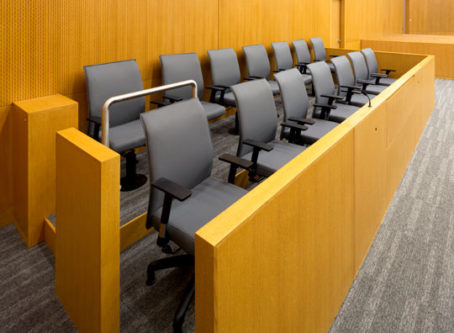 Jury box, court upholds jury verdict