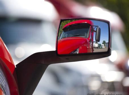 Truck rearview mirror in a rearview mirror