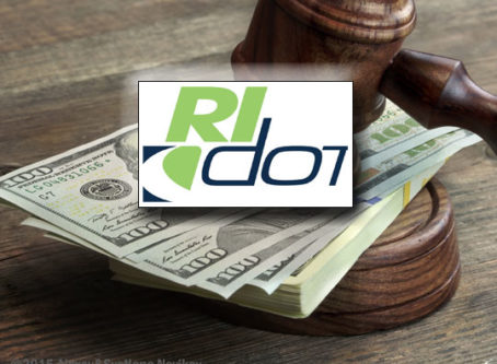 RI DOT logo, gavel and money