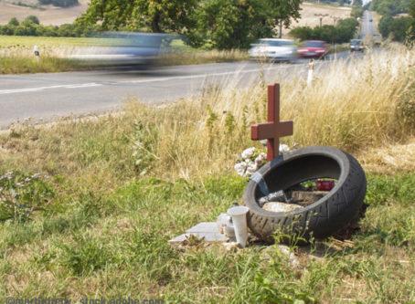 Roadside memorial for traffic fatality