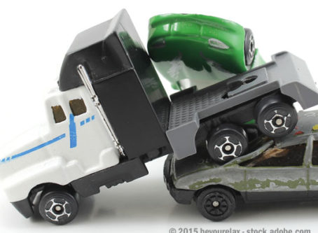 Toy semi, cars in collision