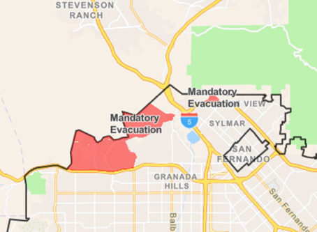 Saddleridge Fire evacuation area map