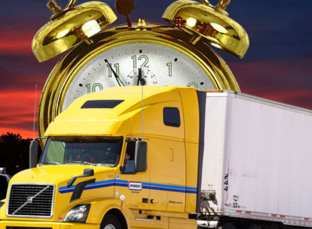 Giant clock, semitrailer, time to make an hours-of-service comment