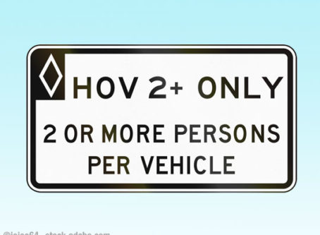 Sign for HOV lanes
