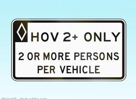 Sign for HOV lanes