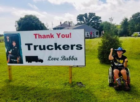 "Dakota ""Bubba"" Cadd giving a shout out to truckers"