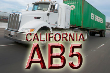 California AB5 Port of Los Angeles truck photo