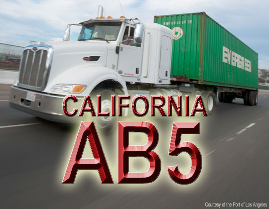 California AB5 Port of Los Angeles truck photo