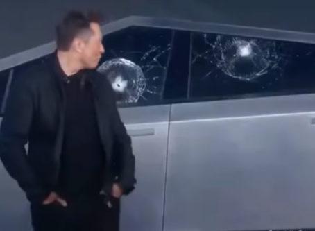 Broken windoes on Tesla's Cybertruck during Elon Musk's presentation