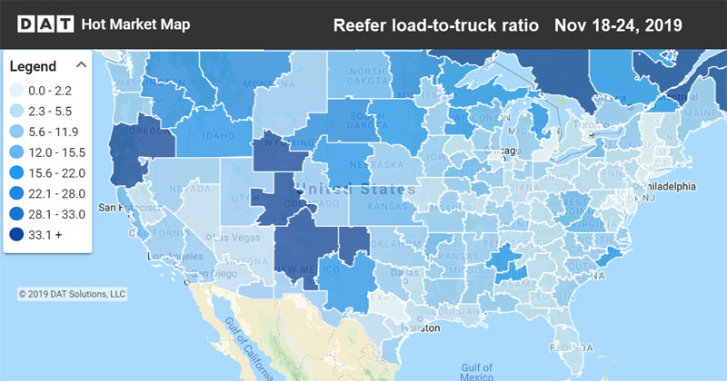 Spot reefer rates map