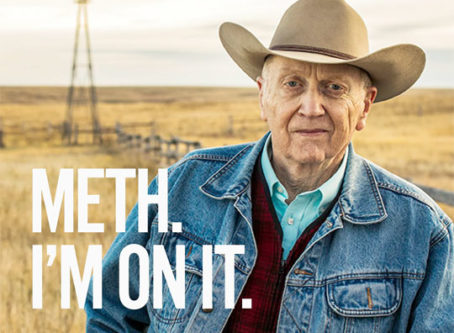 "A poster featuring South Dakota's ""Meth. We're On It."" slogan"