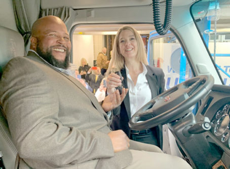 2019 Transition Trucking winner, driver Joseph H. Campbell Jr., and Lisa Berreth, Kenworth marketing director