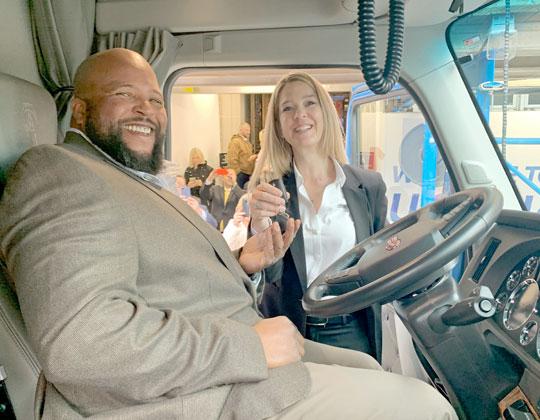 2019 Transition Trucking winner, driver Joseph H. Campbell Jr., and Lisa Berreth, Kenworth marketing director