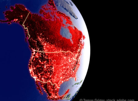 US globe, North America in red