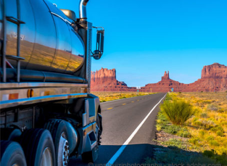 A truck near Monument Valley, Utah. Legislators are considering tax reform measures affecting semi trucks.