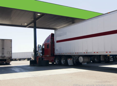 Diesel fuel pumps at truck stop
