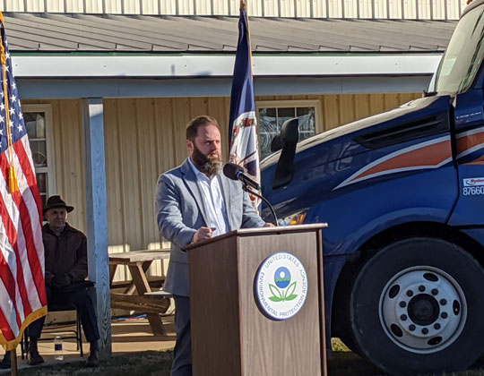 OOIDA's Collin Long at the EPA Cleaner Truck Initiative ceremony