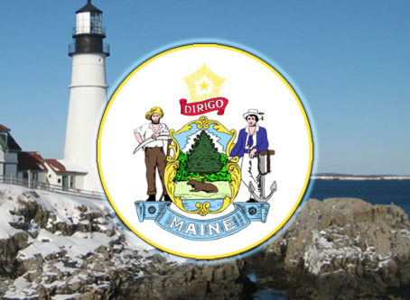 Maine state seal, lighthouse