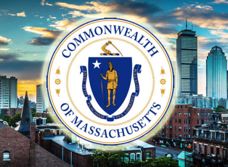 Masschusetts state seal, Boston background