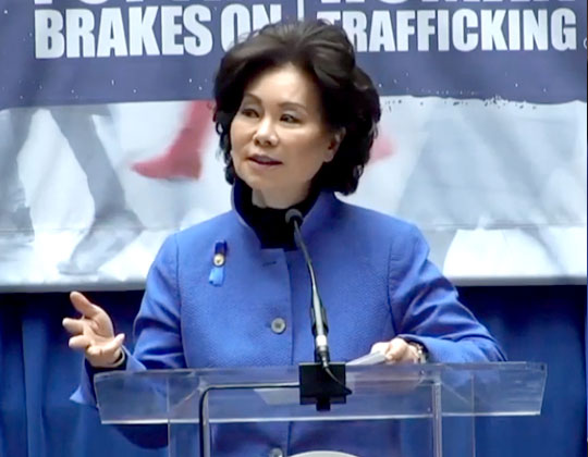 Transportation Secretary Elaine Chao calls on transport industry to 'put the brakes on human trafficking'