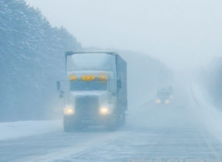 Semitrailer in snow and ice