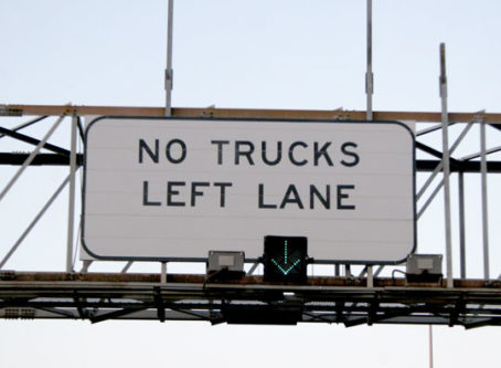 No trucks in left lane, lane use restrictions