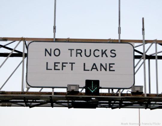 No trucks in left lane, lane use restrictions