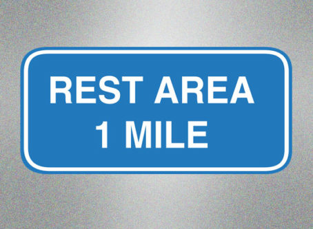 Rest Area 1 miles sign