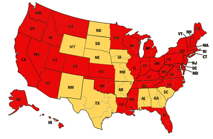 Stay-at-home orders U.S, map
