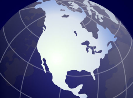 North America on globe.