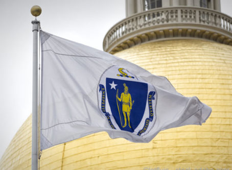 Massachusetts flag, state capitol dome