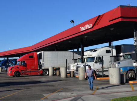 Diesel fuel prices, truck stop photo