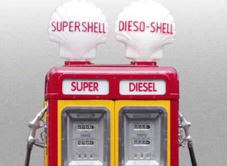 Vintage Super Shell diesel fuel pumps