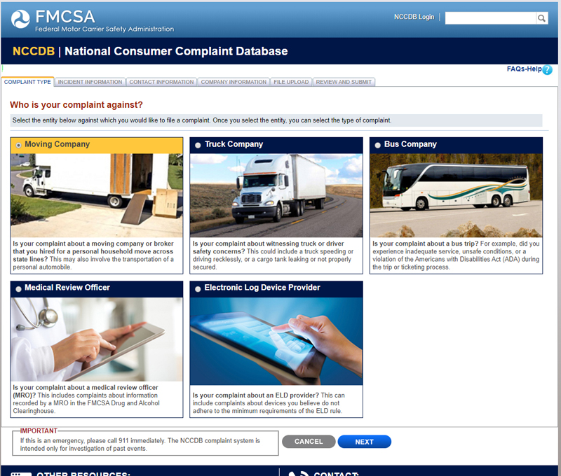 No where on the National Consumer Complaint Database can someone lodge complaints against brokers.