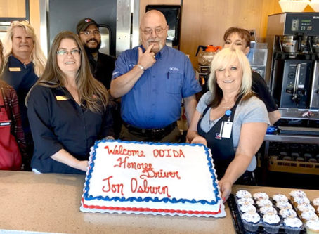 Jon Osburn, skipper of OOIDA's tour trailer, is feted in Laurel, Mont.