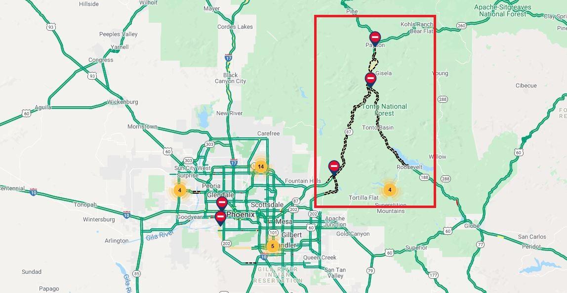 Bush Fire highway closures