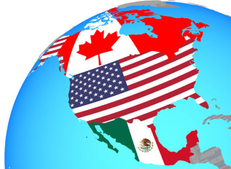 NAFTA North American countries on globe with maps