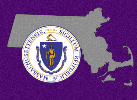 Massachusetts seal and map graphic