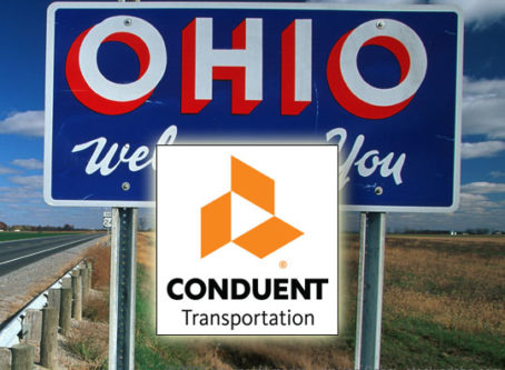 Conduent logo, Ohio Welcomes You sign