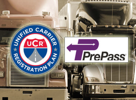 UCR and PrePass logos, trucks in background