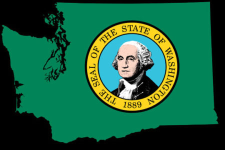 Washington state seal on state map outline