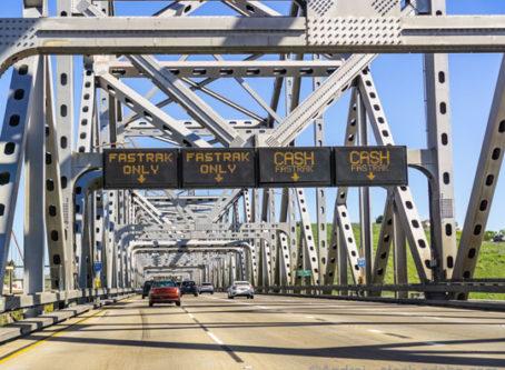 Toll plaza for the Benicia Martinez Bridge in the north San Francisco Bay Area.