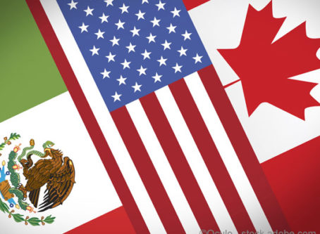 Mexico, U.S. and Canada flags