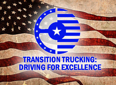 Transition Trucking: Driving for Excellence logo, US flag