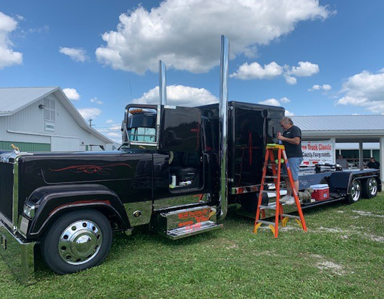 Getting her spiffed and polished at th Tower Tree Truck Classic 2020