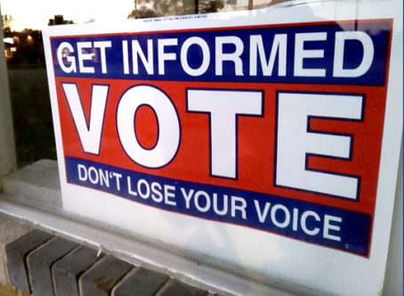VOTE get informed, don' lose your voice sign
