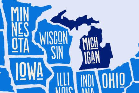 Michigan on U.S. map